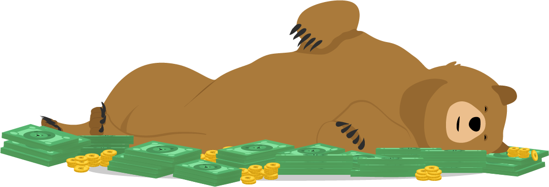 Cartoon grizzly bear rolling in money piles with joy