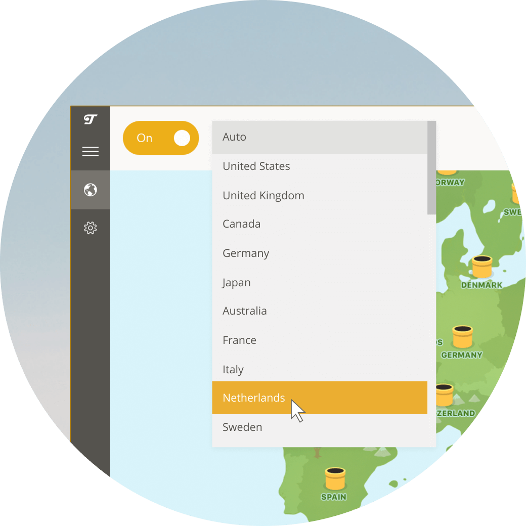 TunnelBear VPN App dropdown menu showing some server locations: United States of America, United Kingdom, Canada, Germany, Japan, Australia, France, Italy, Netherlands, Sweden